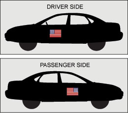 Image of two vehicles with American flags properly attached to them.